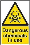 vsafety Schilder 6a019au-s Gefährliche Chemikalien in Einsatz Achtung Substanz und chemischen Schild, selbstklebend, Portrait, 200mm x 300mm, schwarz/gelb