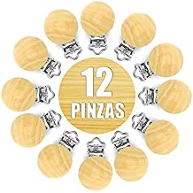 RUBY-12 Pinzas de Madera Clips Pinzas de Chupete para Niños Bebés Madera natural sin pintar