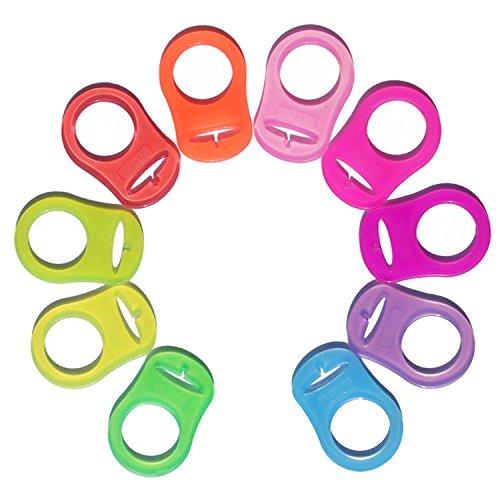 Gosear 10PCS Silikon Adapter Halter Ringe für MAM Baby Schnuller Bunt