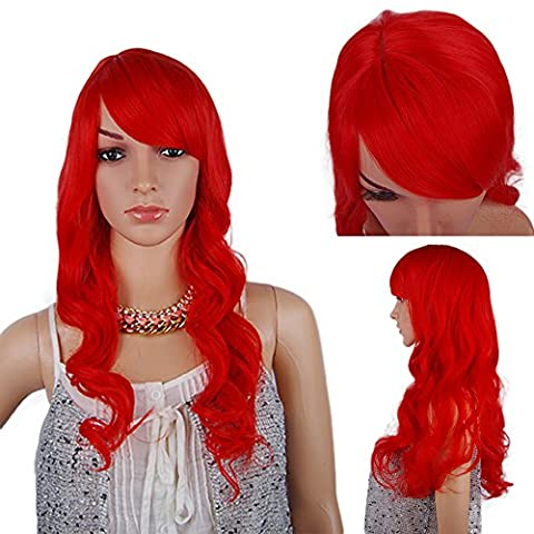 Spretty Women Girls Shining Long Curly Wavy Red Wig for Pub/Bar and Cosplay Party Dress