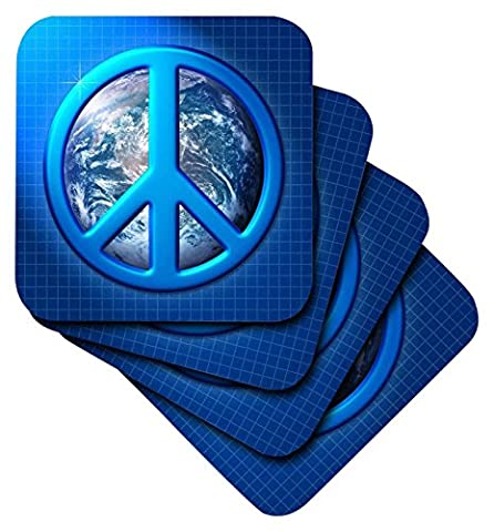 3dRose Peace on Earth Large Blue Peace Sign Over The Planet Earth - Ceramic Tile Coasters, Set of 4 (cst_18146_3)