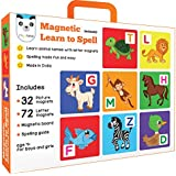 Play Panda Magnetic Learn to Spell : Animals with 32 Picture Magnets, 72 Letter Magnets, Magnetic Board and Spelling Guide