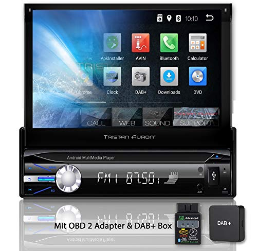 Tristan Auron BT1D7021A Autoradio + DAB+ Box und OBD 2 Adapter, Android 8.1, 7'' Touchscreen Bildschirm, GPS Navigation, Bluetooth Freisprecheinrichtung, Quad Core Prozessor, USB, SD, DAB I 1 DIN -