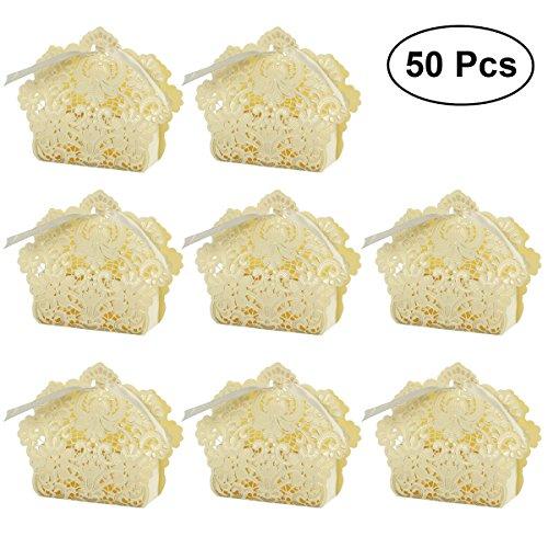 VORCOOL 50 stücke Hochzeit Gunsten Boxen Aushöhlen Kraftpapier Box Für Geschenke Süßigkeiten Süßigkeiten mit Bändern (Weißes Gold) (Hochzeit Gunsten Box-gold)