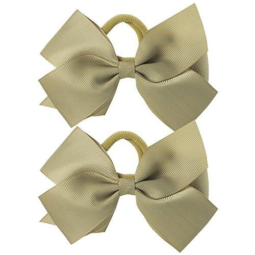 Paar Ripsband Haar Schleife Pony/elastisch/Band–Beige