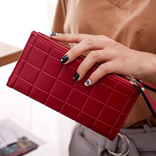 Portafoglio Donna, Tpulling Borsa della borsa del supporto della carta del raccoglitore della borsa della frizione delle donne (Black) Red