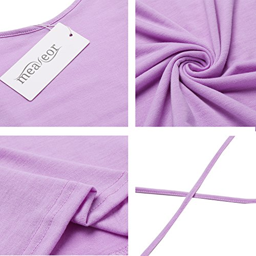 Meaneor Damen Rückenfreies Ärmelloses Sommer Kleid Mini Casual Kleider Trägerkleid Shirtkleider Strandkleider Lila