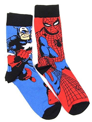 Marvel Comic Heroes Chaussettes pour homme Motif Spiderman/Captain America 9-12 chaussures