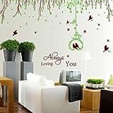 ALLDOLWEGE Die einfache Tv Hintergrund Wall Sticker auf dem Schlafsofa romantischen Garten Dekoration Blumen Rattan abnehmbare Wall Sticker, 255*125 Cm
