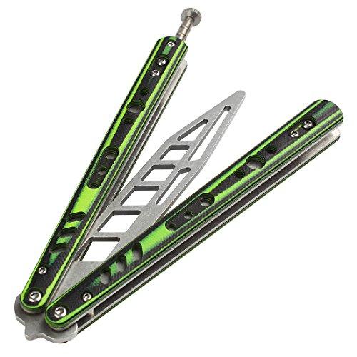 Andux Zone Trainer Messer volle Stahl ohne Schrauben Dauerhaft CS/HDD40 (Grün)