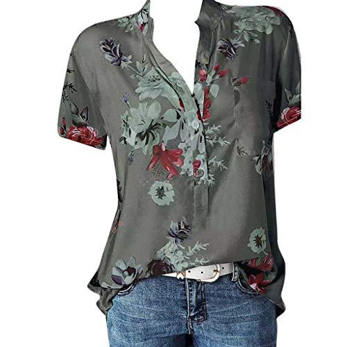 GJKK Bluse Damen Herbst Shirt Reizvoller Übergröße Half Ärmel Federdruck V-Ausschnitt Sweatshirt Langarmshirt Tops Oberteil Hemd T-Shirts Tunika(S-5XL) -