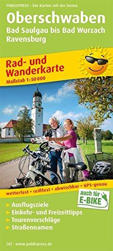 Oberschwaben, Bad Saulgau bis Bad Wurzach, Ravensburg: Rad- und Wanderkarte mit Ausflugszielen, Einkehr- & Freizeittipps sowie Straßennamen, ... 1:50000 (Rad- und Wanderkarte / RuWK)