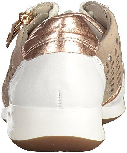 ara Damen Rom Sneaker Weiß (weiss, rosegold/Taupe)