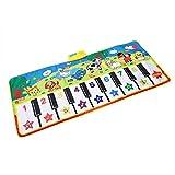 FTVOGUE Tappetini per Pianoforte per Bambini Tappeti per Bambini Bambini Touch Play Gioco Tastiera Giocattolo Strumento Musicale Suono Coperta Tappeto Giocattoli Regalo(Senza Batteria)