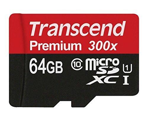 Foto Transcend TS64GUSDU1E Scheda di Memoria MicroSDXC da 64 GB con Adattatore, Classe 10 U1
