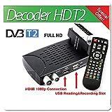 B-black® DECODER DIGITALE TERRESTRE HD T2 NUOVO STANDARD 2018 USB SCART SNODABILE 1080P HDMI TELECOMANDO