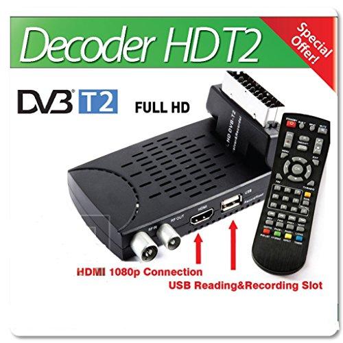 b-black ® Décodeur numérique terrestre HD T2nouveau standard 2018USB péritel articulée 1080P HDMI Télécommande