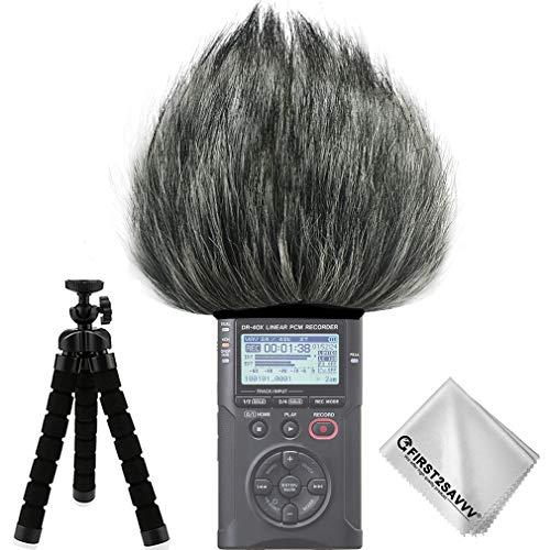 First2savvv Micrófono Externo Peludo Parabrisas Manguito Para Grabadores digitales para Tascam DR-40X DR 40 TM-DR40X-01TZ3
