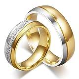 HIJONES Donne Forever Love Serie Acciaio Inossidabile 18K Oro Placcato FEDI Taglia 10 (con Diamante)