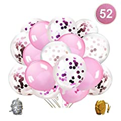 Idea Regalo - Qipop Oro Rosa coriandoli Palloncini Party Balloon per Matrimonio, Compleanno, Baby Shower, Laurea, Cerimonia Party Decorazioni(52 Pezzi)