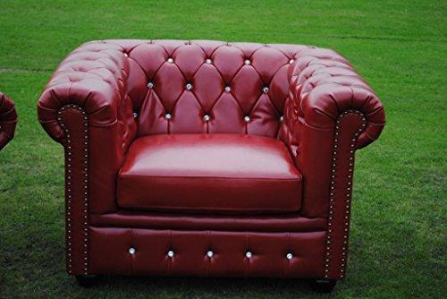 Marke New Rot Bycast Leder Chesterfield mit 1-Sitzer Club Stuhl. (Bycast Rotes Leder)