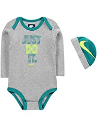 60b0d26ed6 Nike Age 6-9 Months 2 Piece Infant Set Bodysuit Grey Hat Beanie Baby Boys