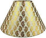 "RDC 10"" Round Cream with Golden Designer Lamp Shade for Table Lamp"