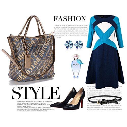 Yoome Multi Taschen Tasche Crossbody Top Griff Tote Elegant Taschen Für Frauen Neue Chic Taschen Wasserdicht - Blau Kaffee