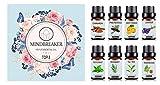 Bio Aromatherapie ätherische Öle Set - TOP8 All Oil Diffusers, Weihrauch, Lavendel, Teebaum, süße Orange, Pfefferminze, Zimt, Kiefernnadel, Rosmarin für Zuhause, Büro, Schlaf, Yoga