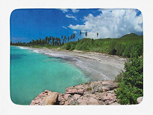 o-Badematte, Tag am Guanica-Strand Foto des tropischen Stils des amerikanischen Landreservats, Plüsch-Badezimmer-Dekor-Matte mit Rutschfester Klammer, Mehrfarbig ()