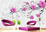 Fototapete Vlies Tapete 3D wallpaper Wanddeko Design Moderne Anpassbare Wandbilder Rose Stereoskopische Fernseher Hintergrund Mauer