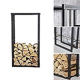 Melko robustes Kaminholzregal für Brenn- und Feuerholz, freistehender Holz-Ständer, aus Eisen, 100 x 60 cm - mit Gumminoppen für den Bodenschutz