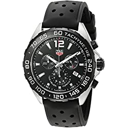 TAG Heuer Men's 43mm Black Rubber Band Steel Case Swiss Quartz Chronograph Watch CAZ1010.FT8024