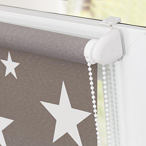 Lichtblick KRT-045-180-101 Rollo Klemmfix ohne Bohren blickdicht Sterne Grau-Weiß - 5