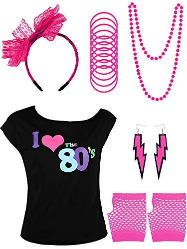 Yaomiao 80er Jahre Kinder Kostüm Zubehör Set, Gehören T-Shirt, Fischnetz Handschuhe, Armbänder, Halskette, Ohrringe, Spitze Stirnband für Party Kostüm Gefallen (Farbe 1, 10 - 12 Jahre) (80 Ist Zehn Jahre Kostüme)