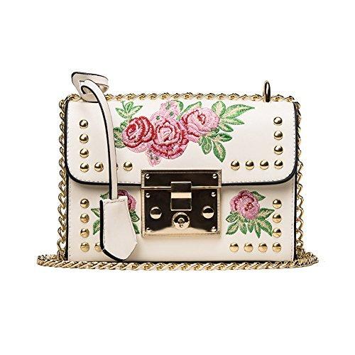 Baggra Mädchen Damen Leder Kurier Beutel Blumen Handtaschen Dame Kleine Umhängetasche Schultertasche Schwarz/Weiß (weiß 2) (Mädchen Weiße Handtasche)