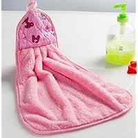 4 PZ corallo del panno morbido asciugamano doppio fumetto Creative mani Super assorbenti asciugamani appeso cucina asciugamani - rosa