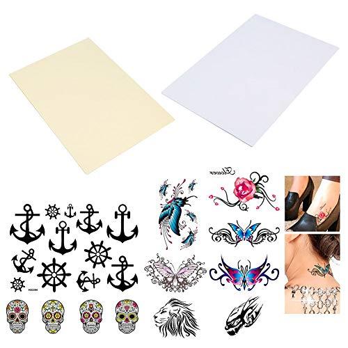 BENECREAT 20 Hojas (Paquete de 10) de Laser DIY A4 Temporal de Papel de Transferencia de Tatuaje Imprimible Personalizado Tatuajes de Halloween