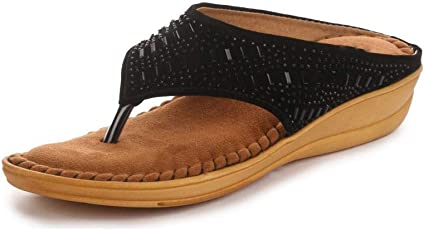 Midsole Women's Embellished Comfortable Footbed Sandals/Ortho Slippers- (FT5009C)