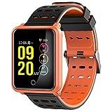 rqnpn5 Fitness Tracker, Touch Keys Armband Farbe Pulsmesser Bluetooth Wasserdichte Schrittzähler Sport IP68 Wasserdichte Schlaf Erkennung Blutdruckerkennung, C