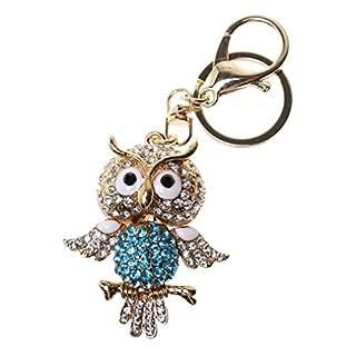 A-szcxtop Bling Strass Lovely Cute Guten Geschmack Metall Schlüsselanhänger Schlüsselanhänger, blaue eule