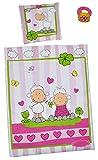 2 tlg. Set: Puppendecke und Kissen - Schafe und Frosch - für Puppen Puppenzubehör Bettdecke Puppenbett Bettzeug - Bett Mädchen Jungen Herzen Tiere Glücksklee Puppenbettdecke