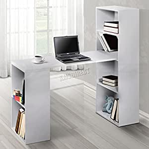 FoxHunter Multifunction Computer Desk With 2 Large Bookcase Shelves PC Table Home Office Furniture Study Gaming Desktop Workstation Morden CD08 White