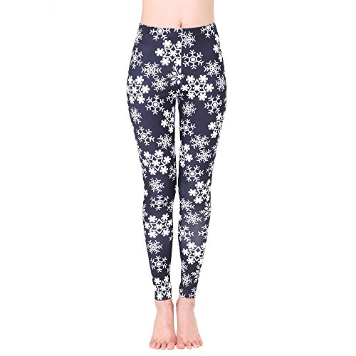 CIELLTE Legging Femme Flocon de Neige Noël Motif Imprimé Épais Jogging Sports Pantalons De Yoga Pantalons Collants Pilate Yoga Pyjama Fitness