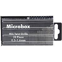 Unterbrechen 20x Microbox Tiny Micro HSS Spiralbohrer-Set 0,3mm-1.6mm Modell Craft W/