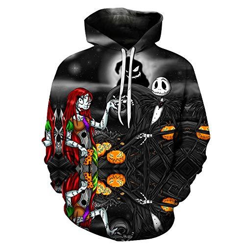MAKEBO Pullover Sweatshirt 3D Gedruckter Tops Unisex Fashion Hoodie Freizeit Sport Party Jack Skellington Polyester/Elasthan