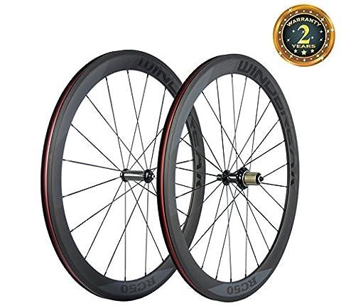 WINDBREAK BIKE 50mm Road Bike Carbon Wheelset 23mm Clincher Wheel with Powerway R36 Hub