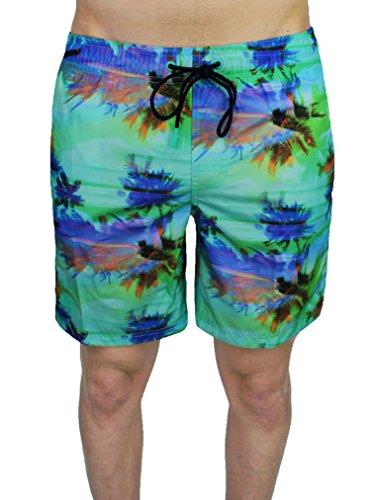 "Costume uomo Sundek elastic waist 16"" atollo verde floreale pantaloncino shorts mare (L)"