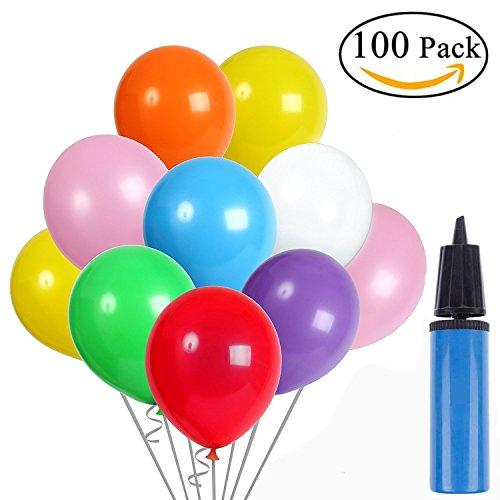 Cherbell 100pcs Globos de látex Globos de Fiesta de Colores Diversos con Bomba Manual para Bodas, Fiestas de Cumpleaños