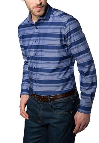 Eterna Long Sleeve Shirt Modern Fit Barré Fabric Striped Blu